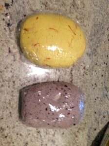 Two different Masa: Saffron and Black Olive