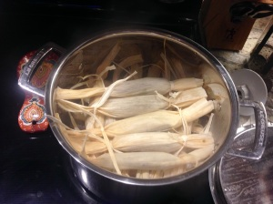 Two types of hand-tied Tamales steaming